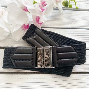 Chico's Black Stretch Leather and Jute Belt Sz M